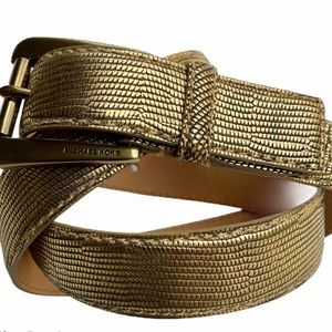 MICHAEL KORS Genuine Leather Gold Belt. SZ Lg.